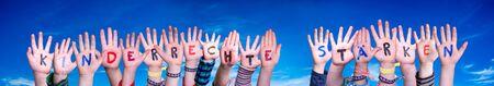 Children Hands, Kinderrechte Staerken Means Strengthen Children Rights, Blue Sky
