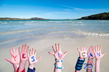 Children Hands Building Word Yes I Can, Ocean Background Stock fotó