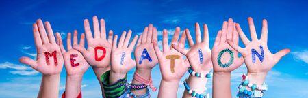 Children Hands Building Word Mediation, Blue Sky