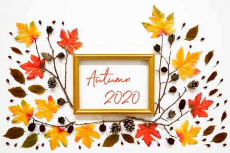Colorful Autumn Leaf Decoration, Golden Frame, Text Autumn 2020