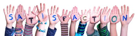 Children Hands Building Word Satisfaction, Isolated Background Фото со стока