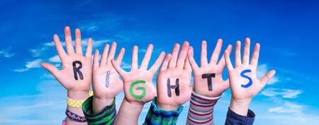 Children Hands Building Word Rights, Blue Sky