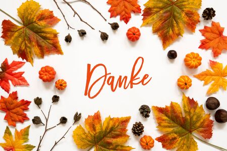 Bright Colorful Autumn Leaf Decoration, German Text Danke Means Thank You 版權商用圖片