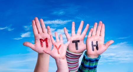 Kids Hands Holding Word Myth, Blue Sky