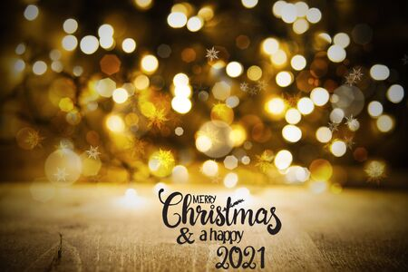 Christmas Golden Lights Background, Merry Christmas And A Happy 2021