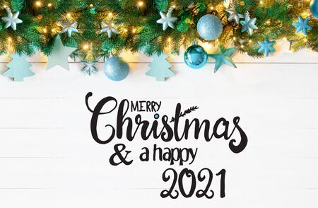 Turquoise Christmas Banner, Merry Christmas And A Happy 2021 Archivio Fotografico