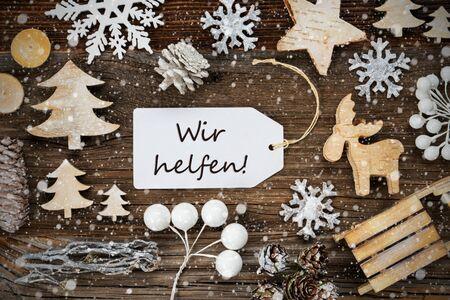 Label, Frame Of Christmas Decoration, Wir Helfen Means We Help, Snowflakes Zdjęcie Seryjne