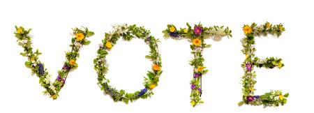 Flower, Branches And Blossom Letter Building English Word Vote. White Isolated Background