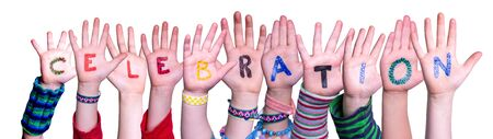 Children Hands Building Word Celebration, Isolated Background