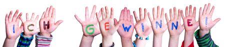 Children Hands Building Word Ich Gewinne Means I Am Winning, Isolated Background Imagens
