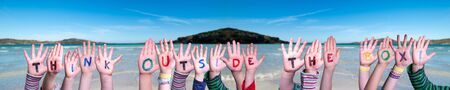 Children Hands Building Word Think Outside The Box, Ocean Background