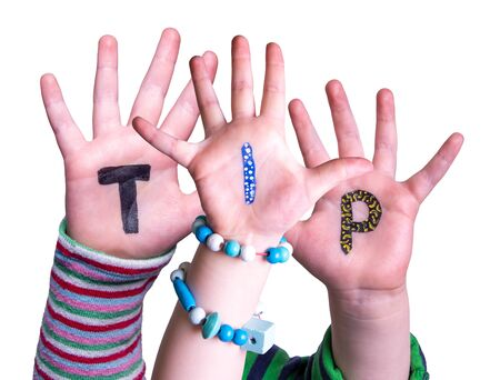 Children Hands Building Word Tip, Isolated Background