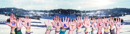 Children Hands, Wir Gratulieren Mean Congratulations, Snowy Winter Background