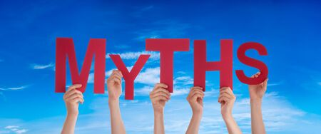 People Hands Holding Word Myths, Blue Sky Stock Photo