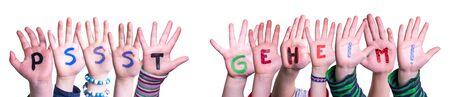 Children Hands Building Word Pssst Geheim Mean Pssst Secret, Isolated Background