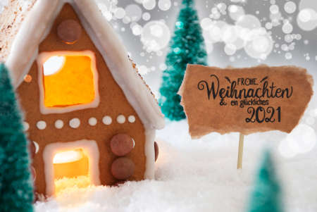 Gingerbread House, Snow, Glueckliches 2021 Means Happy 2021, Silver Background