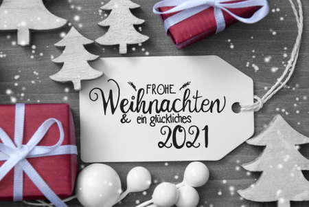 Gifts, Tree, Decoration, Label, Glueckliches 2021 Mean Happy 2021, Snowflakes