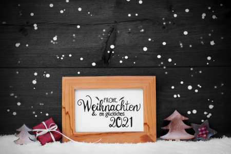 Frame, Gift, Tree, Snow, Snowflakes, Glueckliches 2021 Means Happy 2021
