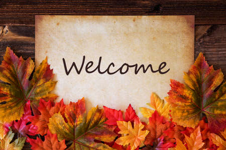 Grungy Old Paper, Colorful Leaves, Text Welcome