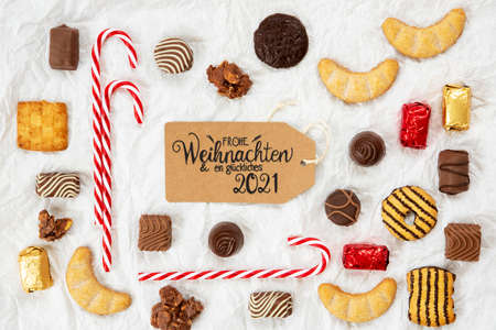 Candy Christmas Collection, Label, Glueckliches 2021 Means Happy 2021