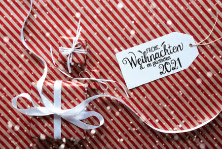 Three Gifts, Wrapping Paper, Label Glueckliches 2021 Mean Happy 2021, Snowflakes