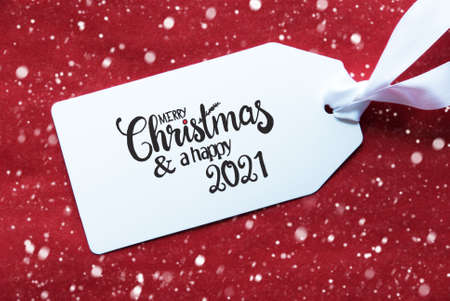 Red Background, Label, Merry Christmas And A Happy 2021, Snowflakes