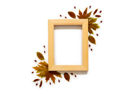 Wooden Frame With Colorful Autumn Leaf Decoration, Copy Space