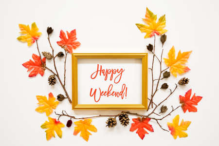 Colorful Autumn Leaf Decoration, Frame, Text Happy Weekend