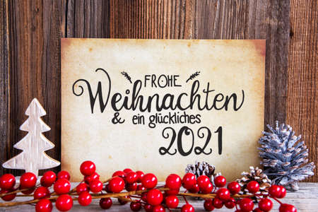 Christmas Decoration, Paper With Text Glueckliches 2021 Means Happy 2020