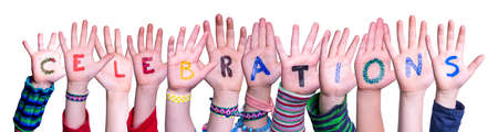 Children Hands Building Colorful English Word Celebrations. White Isolated Background Imagens