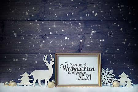 Vintage Frame, Golden Ball, Tree, Snow, Deer, Glueckliches 2021 Means Happy 2021
