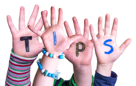 Children Hands Building Word Tips, Isolated Background Imagens