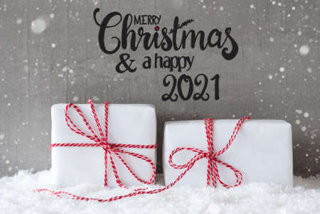 Two White Gifts, Snow, Snowflakes, Cement, Merry Christmas And A Happy 2021