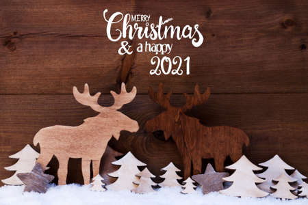 Moose, Wooden Tree, Snow, Merry Christmas And Happy 2021