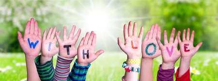 Children Hands Building Word With Love, Grass Meadow