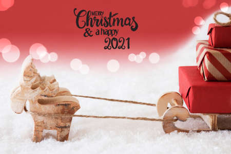 Reindeer, Sled, Snow, Red Background, Merry Christmas And A Happy 2021
