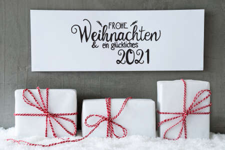 Three Gifts, Sign, Snow, Glueckliches 2021 Means Happy 2021 Banco de Imagens