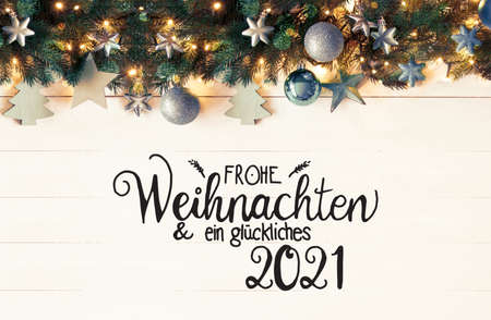 Retro Turquoise Christmas Banner, Calligraphy Glueckliches 2021 Means Happy 2021