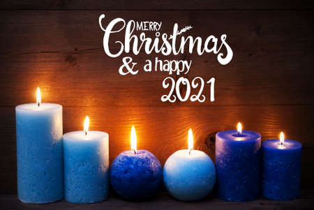 Romantic Turquoise Candle Light , Merry Christmas And Happy 2021