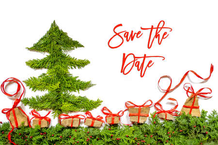 Christmas Tree, Gift And Presents, Fir Branch, Save The Date