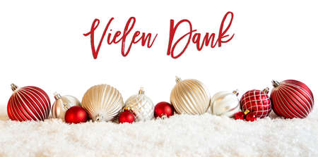Christmas Ball Ornament, Vielen Dank Means Thank You, Snow Stock Photo