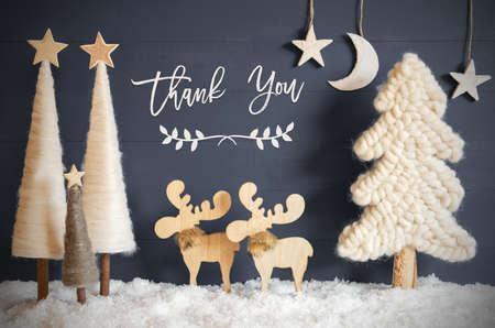Christmas Tree, Moose, Moon, Stars, Snow, Text Thank You