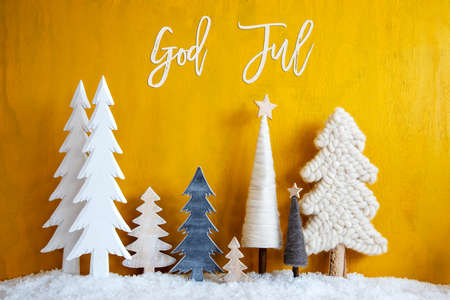 Christmas Trees, Snow, Yellow Background, God Jul Means Merry Christmas
