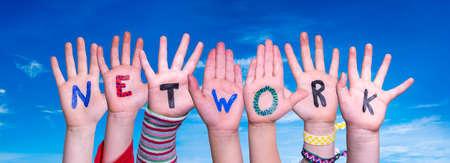 Children Hands Building Word Network, Blue Sky