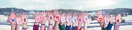 Children Hands Building Wir Vermissen Dich Means We Miss You, Winter Background