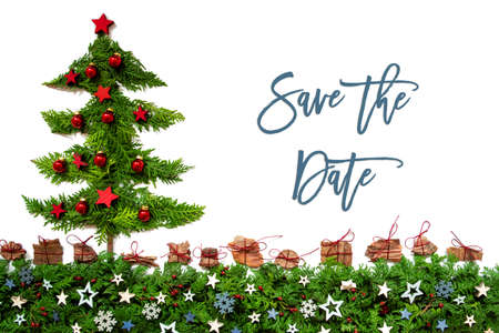 Christmas Tree, Red Balls, Fir Branch, Text Save The Date