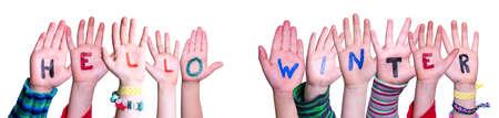 Children Hands Building Word Hello Winter, Isolated Background