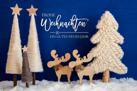 Christmas Tree, Moose, Snow, Gutes Neues Jahr Means Happy New Year Stock Photo