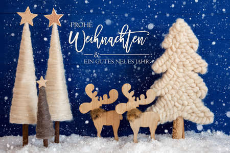 Christmas Tree, Moose, Snow, Gutes Neues Jahr Means Happy New Year, Snowflakes Stock Photo