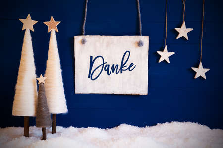 Christmas Tree, Blue Background, Snow, Danke Means Thank You